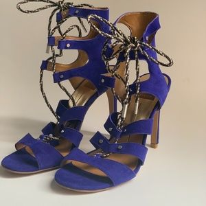 Dolce Vita Dark Blue Suede Sandals with Laces